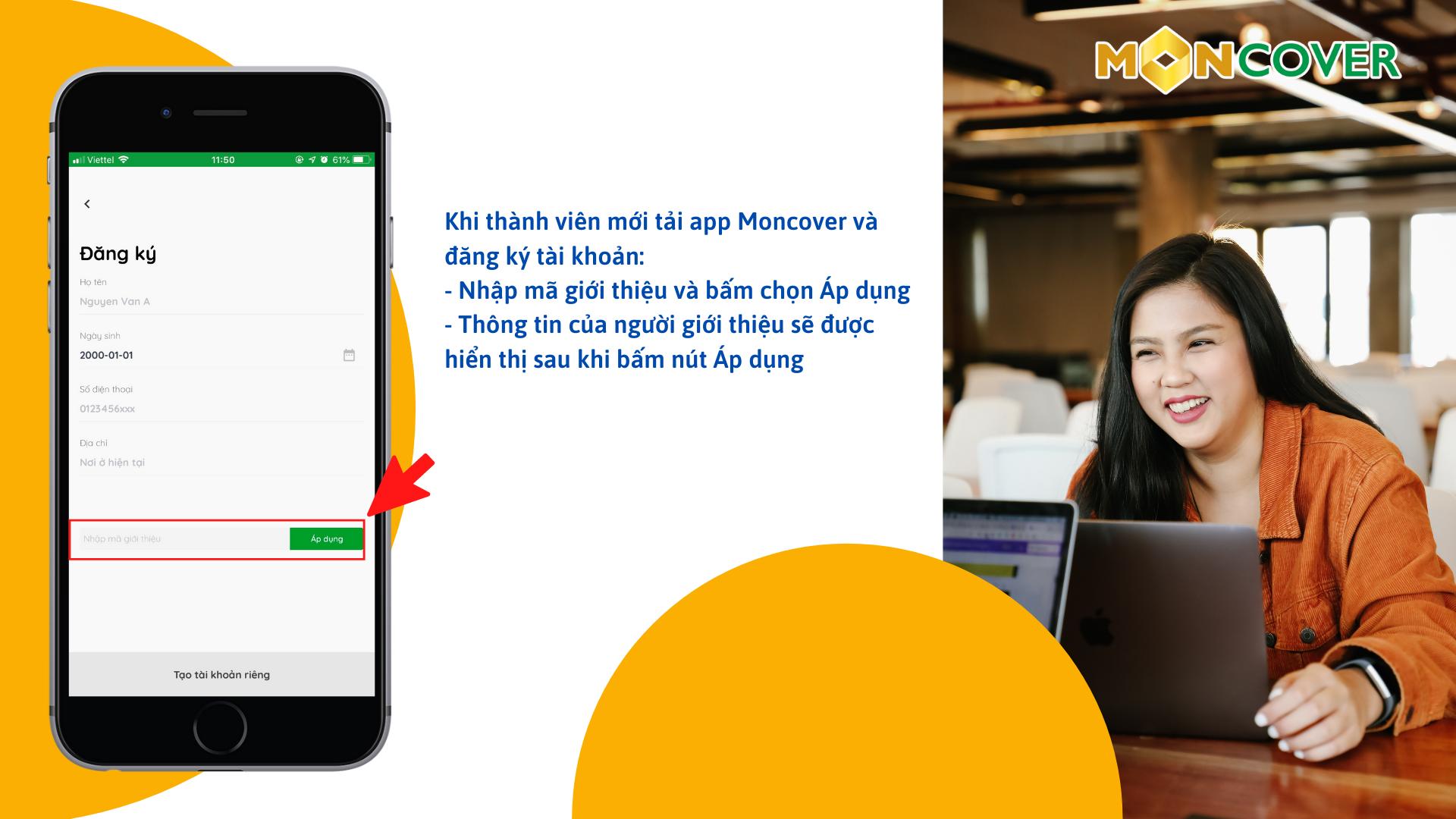 Tính năng giới thiệu trên app Moncover