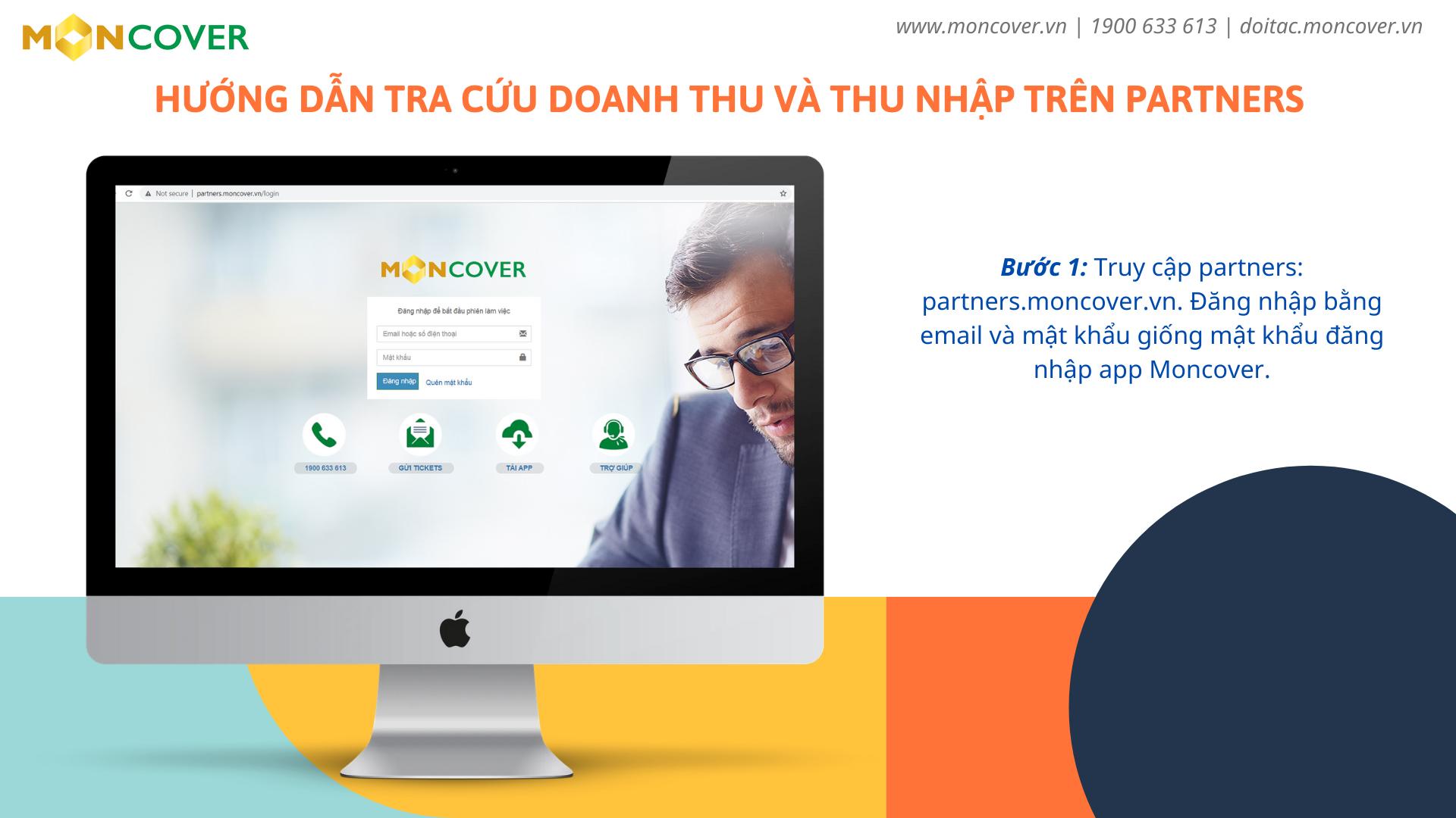 Hướng dẫn tra cứu doanh thu và thu nhập trên app Moncover và partners