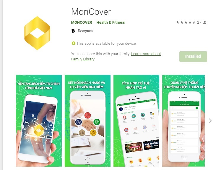ứng dụng moncover